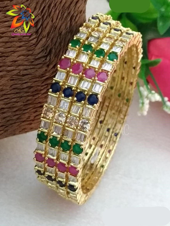 Multi Color Diamond Bangle Set