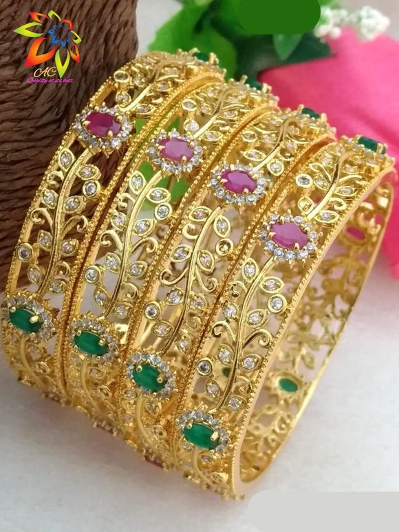 Pink Green Diamond Big Bangles Set