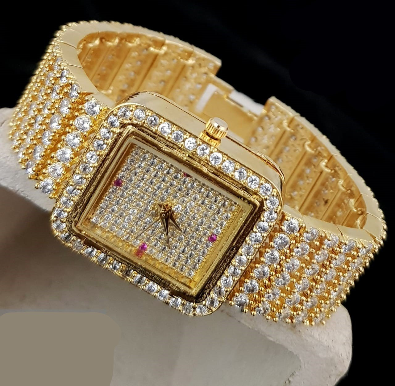 Fancy Wrist Watch With American Diamond Stone