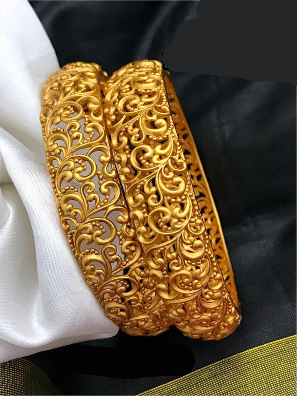 Gold Matte Finish Bangle Pairs