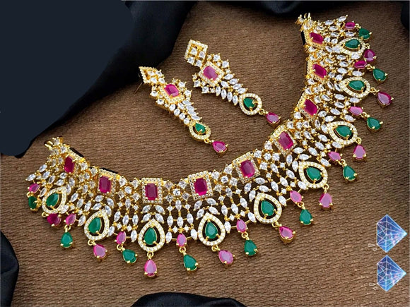 Sparkling Multi Color Diamond Necklace