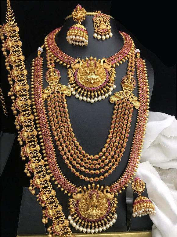 SOUTH INDIAN FASHION TEMPLE JEWELRY FULL COMBO