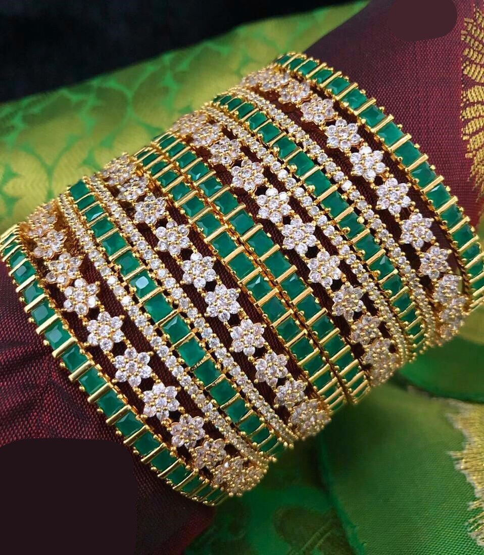 American Diamond Bangles Set