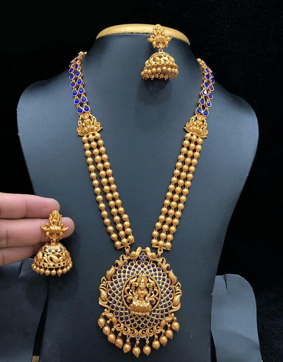 Real Kemp Stone Laxmiji Designed Temple Long Necklace