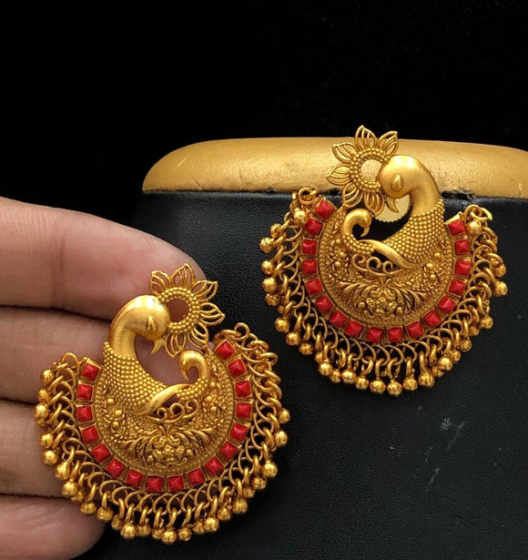 Peacock Designed Chandbaali Earrings