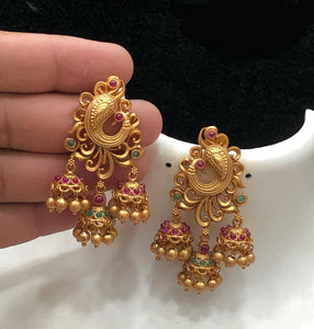 Peacock Design Jhumkha Earrings