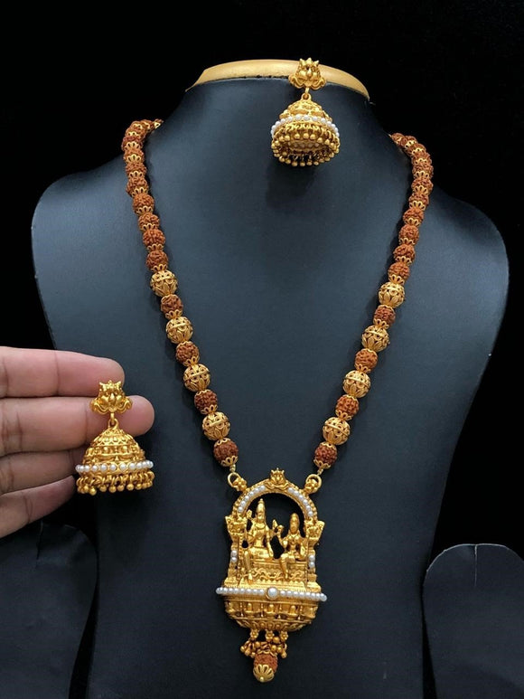 Lord Shiva Parvati Rudraksha Long Haram Necklace With White Beads