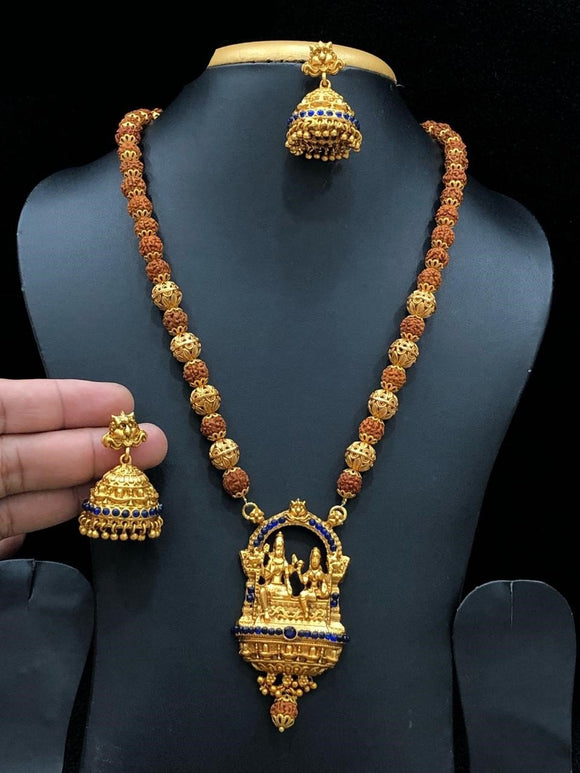 Lord Shiva Parvati Rudraksha Long Haram Necklace With Royal Blue Beads