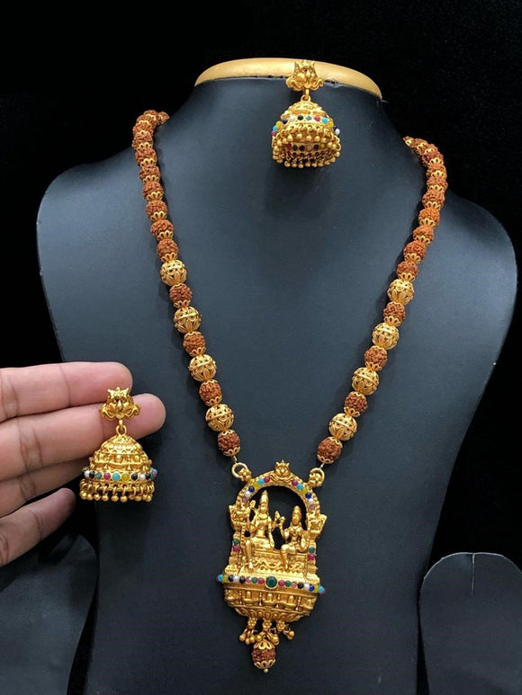 Lord Shiva Parvati Rudraksha Long Haram Necklace With Multi Colored  Beads