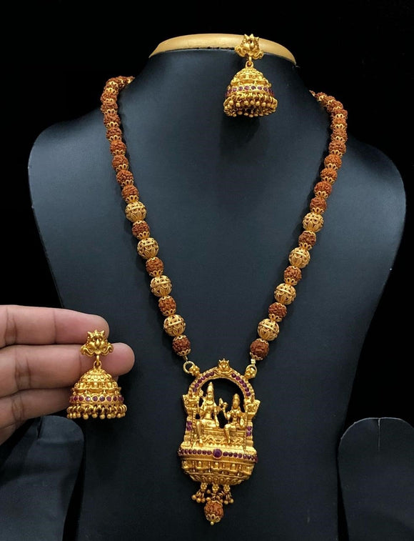 Lord Shiva Parvati Rudraksha Long Haram Necklace With Red Stone