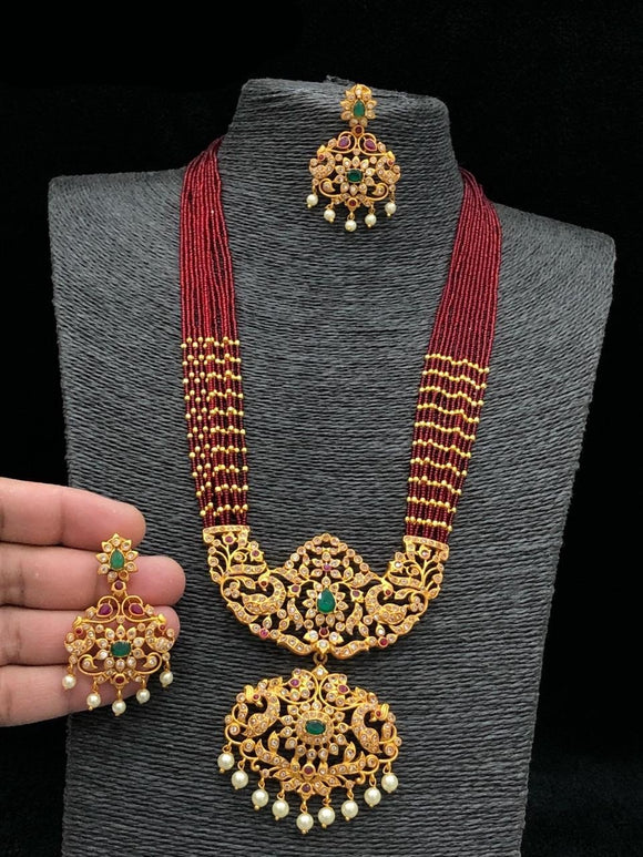 Peacock Chandbali Long Haram With Red Beads Mala