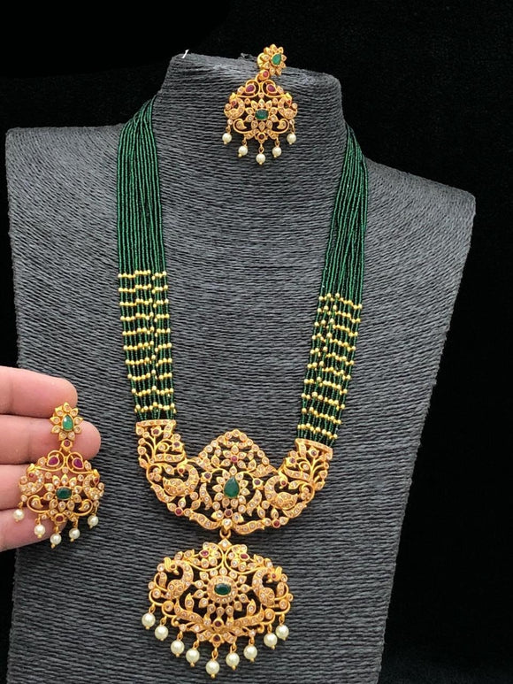 Peacock Chandbali Long Haram With Green Beads Mala
