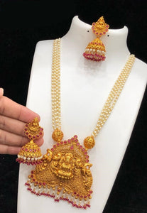 Big Chandbaali Temple Pendant Long Necklace