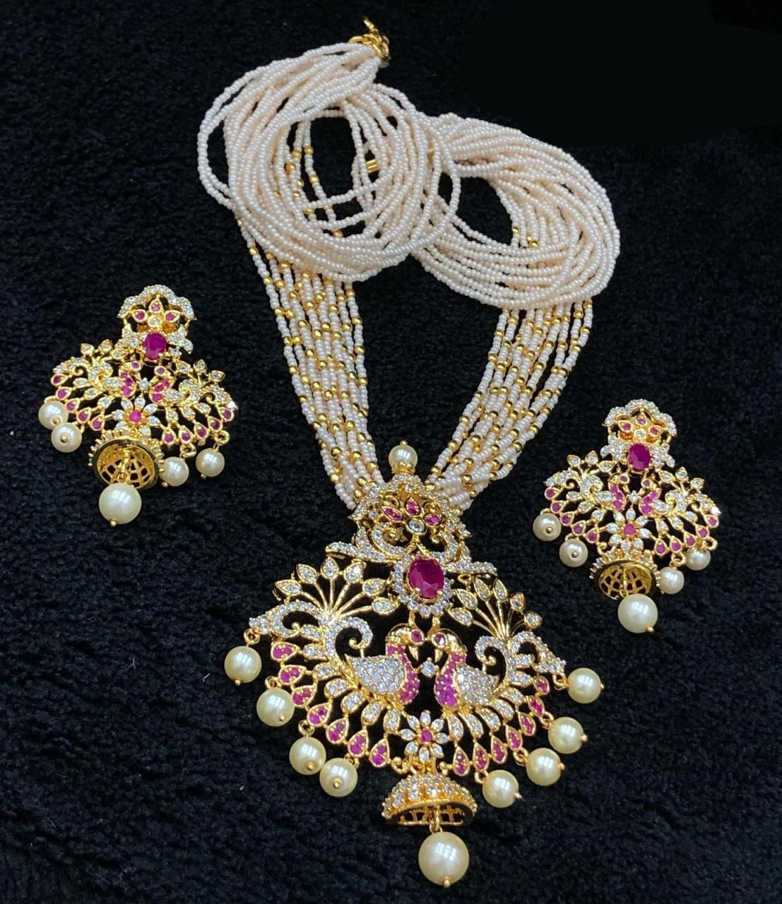 Gold Finished CZ Pendant Necklace With White Beads Mala
