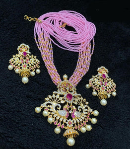 Gold Finished CZ Pendant Necklace With Pink Beads Mala