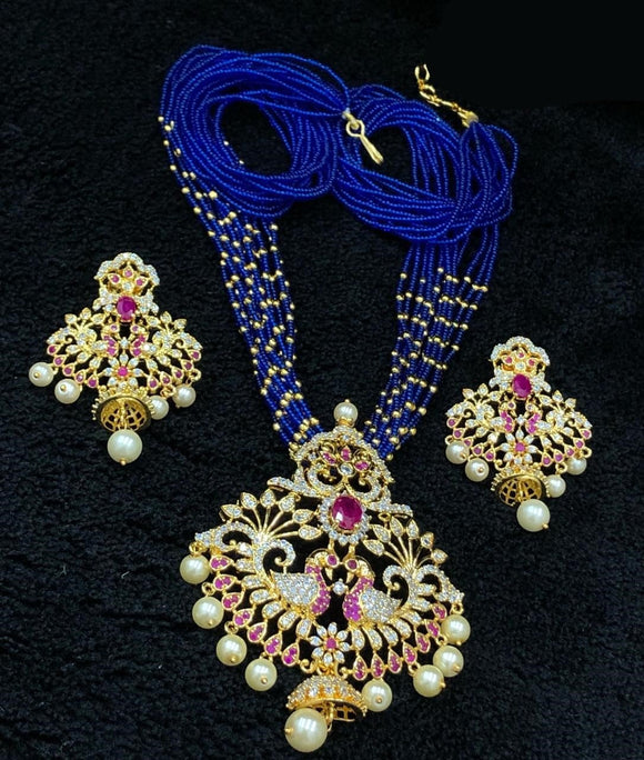 Gold Finished CZ Pendant Necklace With Blue Beads Mala