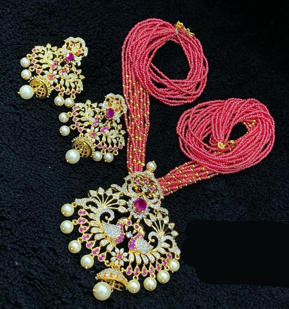 Gold Finished CZ Pendant Necklace With Coral Beads Mala
