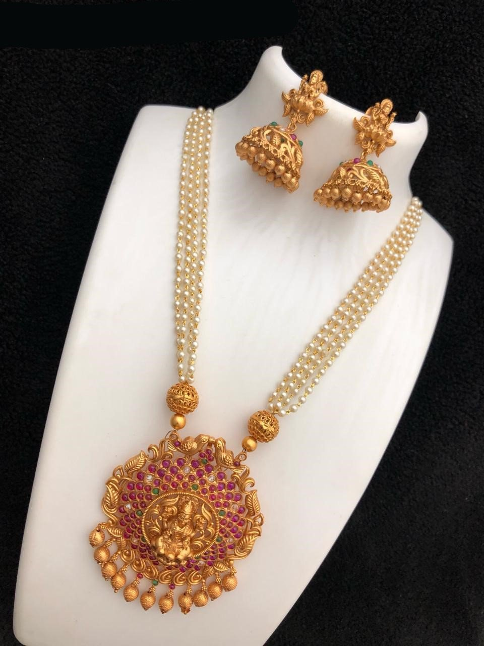 Laxmiji Designed Chandbali Pendant Beads Mala Necklace