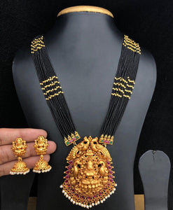 Long Temple Jewelry Necklace With Black Beads