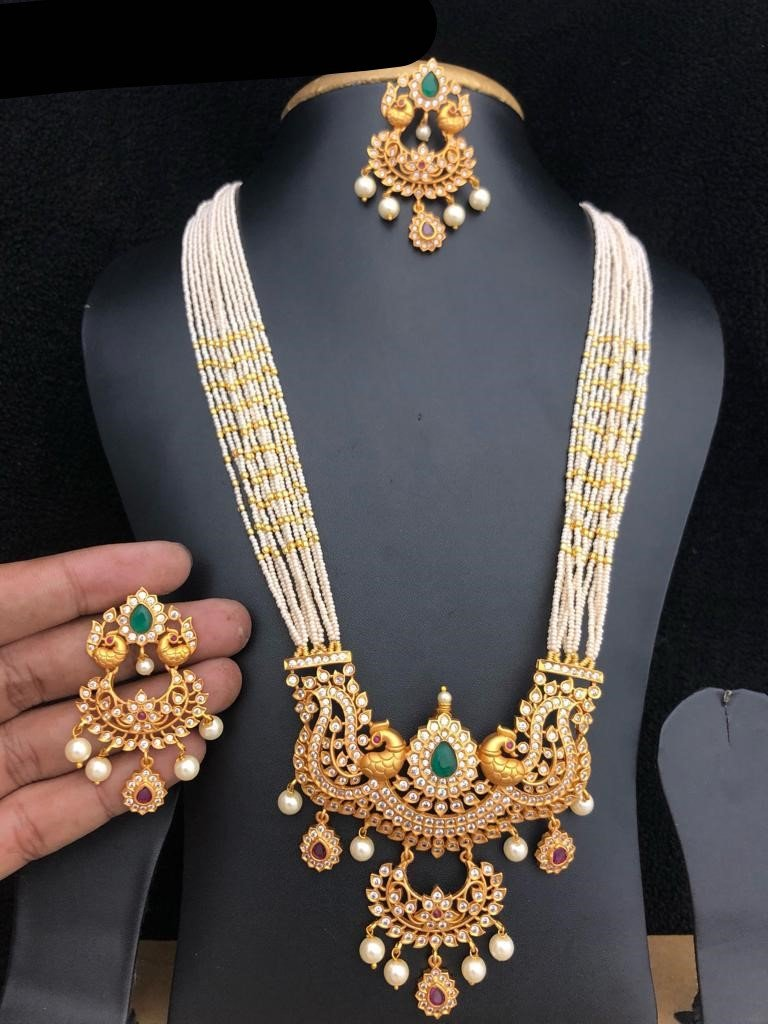 CZ Diamond Long Beads Mala Necklace