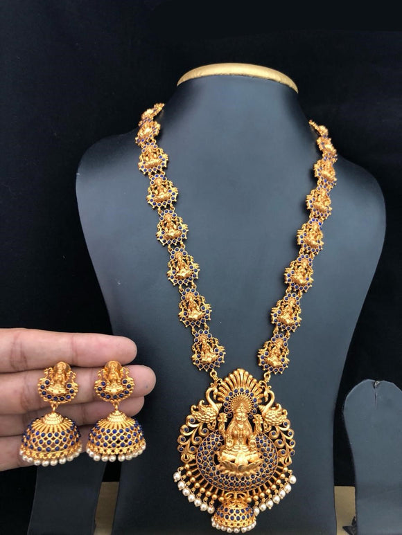 Gold Matte Finish Laxmi Godess Temple Jewelry