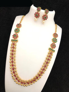 Flower Pattern Long Haram Necklace