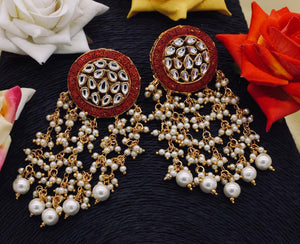Meena Kundan Dangle Earrings With Pearl Drop