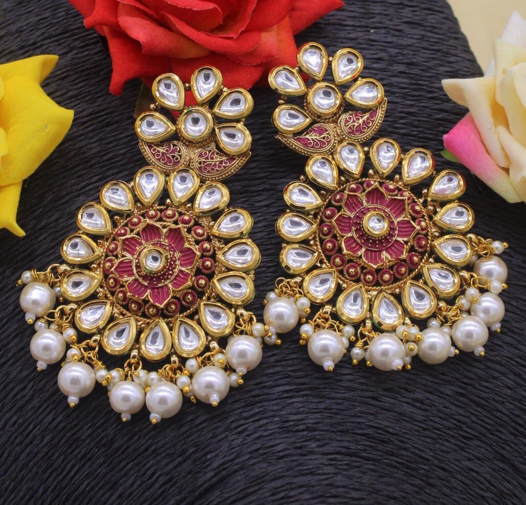 Kundan And Beads Earrings