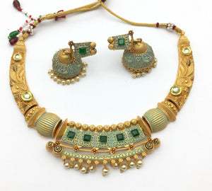 Gold Matte Finished Meenakari Necklace