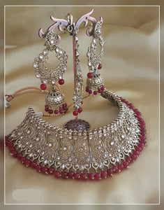Choker Set With Long Dangle Earring and Maang Tikka
