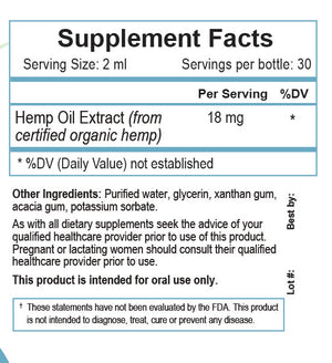 Hemp oil Extract Supplement Facts