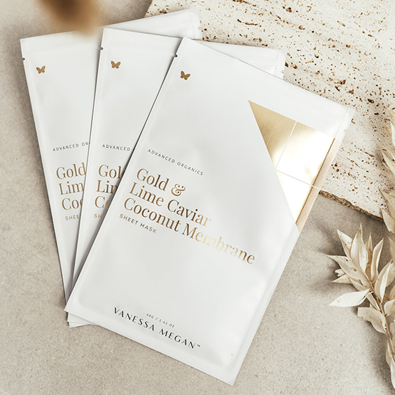 Gold & Lime Caviar Coconut Membrane Sheet Mask - 3 Pack