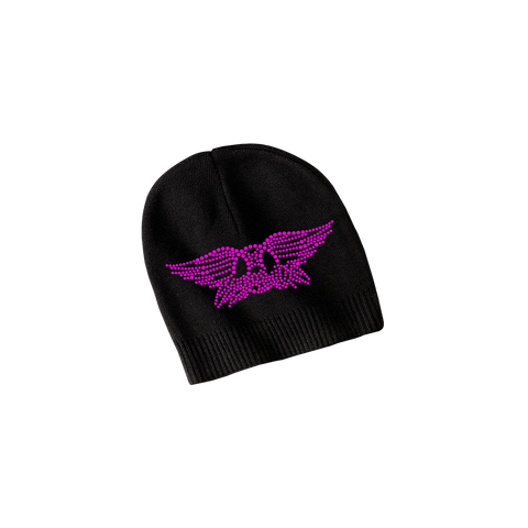 Black Bling Beanie with Deep Pink Crystals