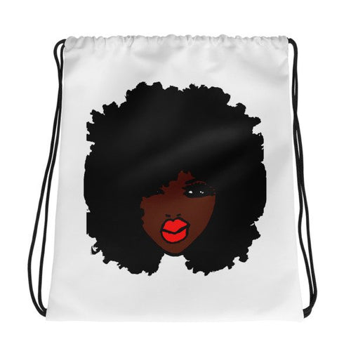 Afro Girl Pretty Cute With Red Lipstick Drawstring Bag BackPack