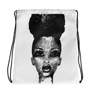 Afro Puff Positive Me Black And White Drawstring Bag