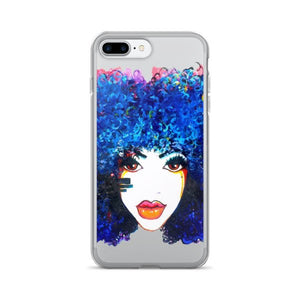Afro Blue Women Natural Curly Hair iPhone 7/7 Plus Case