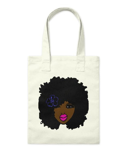 BrownSkin Curly Afro Natural Hair PinkLips Tote Bag