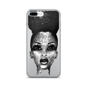 Positive Attitude Natural Hair Puff Diva Black & White iPhone 7/7 Plus Case