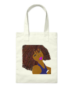 Brown Curly Natural Hair Diva Tote Bag