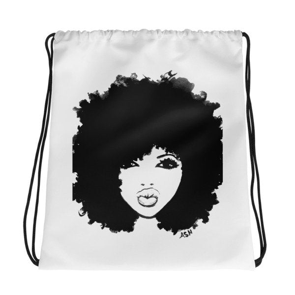 Afro Curly Hair Drawstring Bag Back Pack