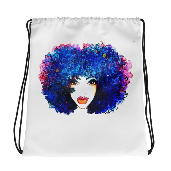 Afro Blue Curly Hair Drawstring Bag