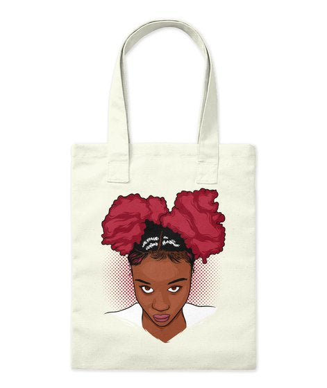 Pretty Girl Curly NaturalHair Afro Puff Tote Bags