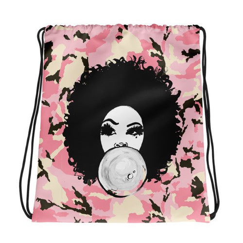 Afro Curly Girl Pink Bubble Gum Girl Backpack With Drawstring Closure