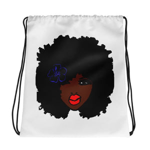 Afro Curly Red Lipstick Natural HairStyle Drawstring Bag Backpack