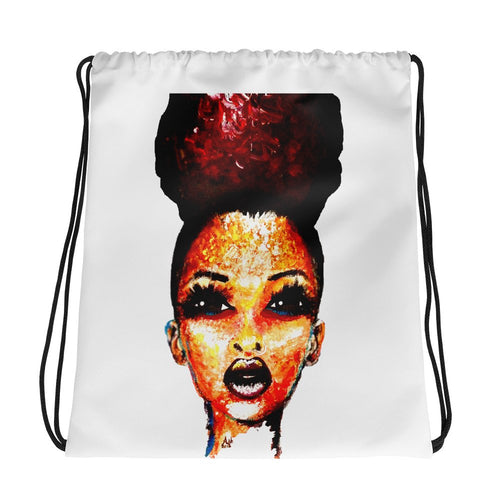 Afro Puff Diva Natural Hair Positive Attitude Queen Drawstring Bag Backpack