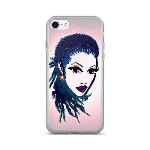 Natural Women Natural Hair Braids Purple Lips iPhone 7/7 Plus Case