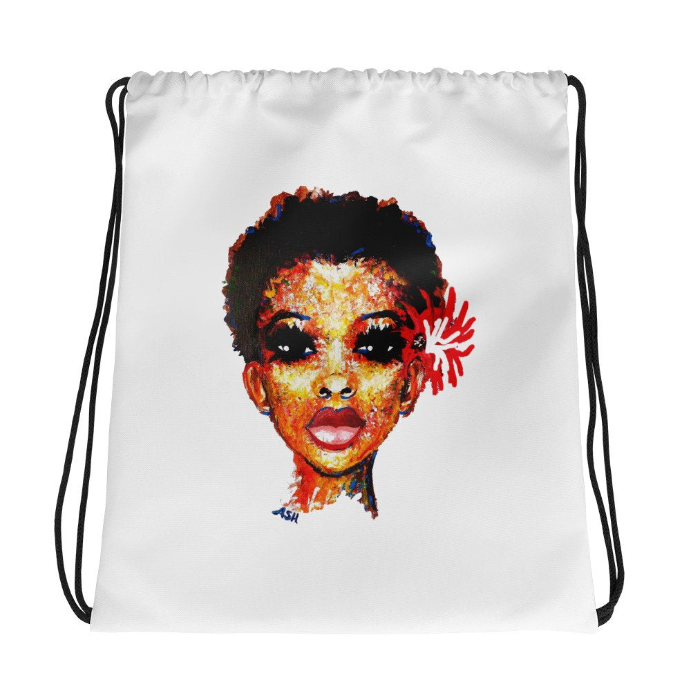Diva Twa Big Chop Afro Black Natural Hair Art  Drawstring Bag