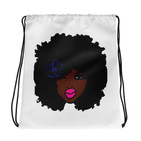Natural Curly Afro Cute Pink LipStick Drawstring Bag BackPack