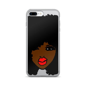 Afro Black BrownSkin Red Lips Natural Hair iPhone 7/7 Plus Case
