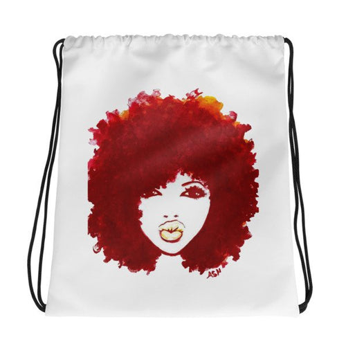 Afro Curly Burgundy Hair Stylish Drawstring Bag Back Pack